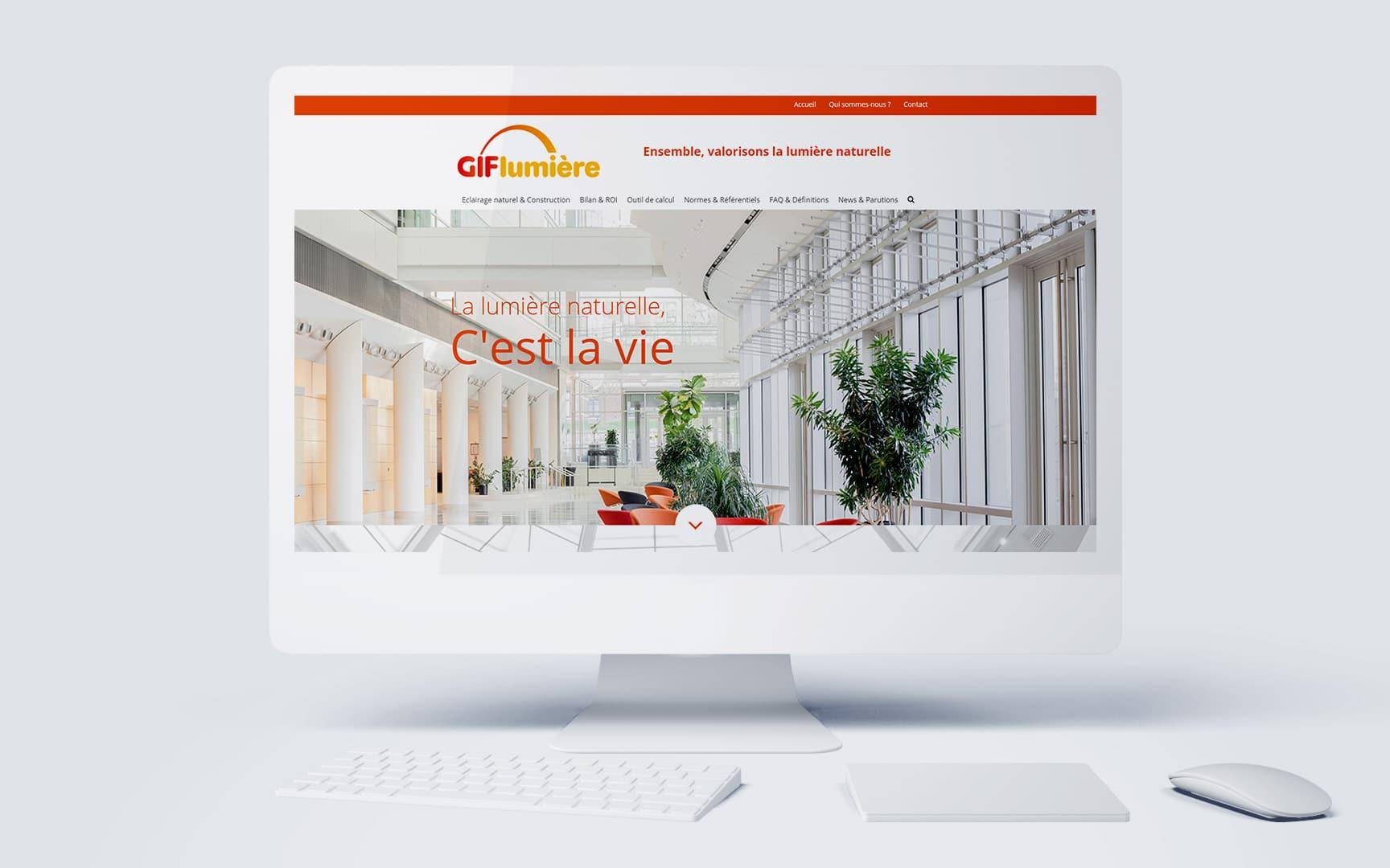 Création et développement du site internet la campagne BtoB de promotion de la lumière et de l'éclairage zénithal, Gif lumière, réalisation par l'agence de communication et de création Siouxe, à Paris.
