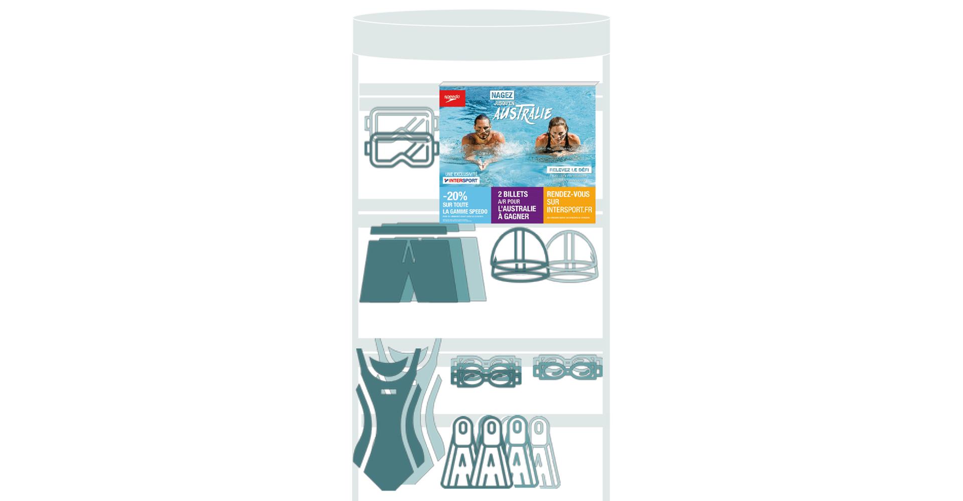 """PLV site campagne d'activation des ventes multi-produits Speedo, """"Nagez jusqu'en Australie"""", trade marketing réalisé par l'agence de communication digitale Siouxe, à Paris."""