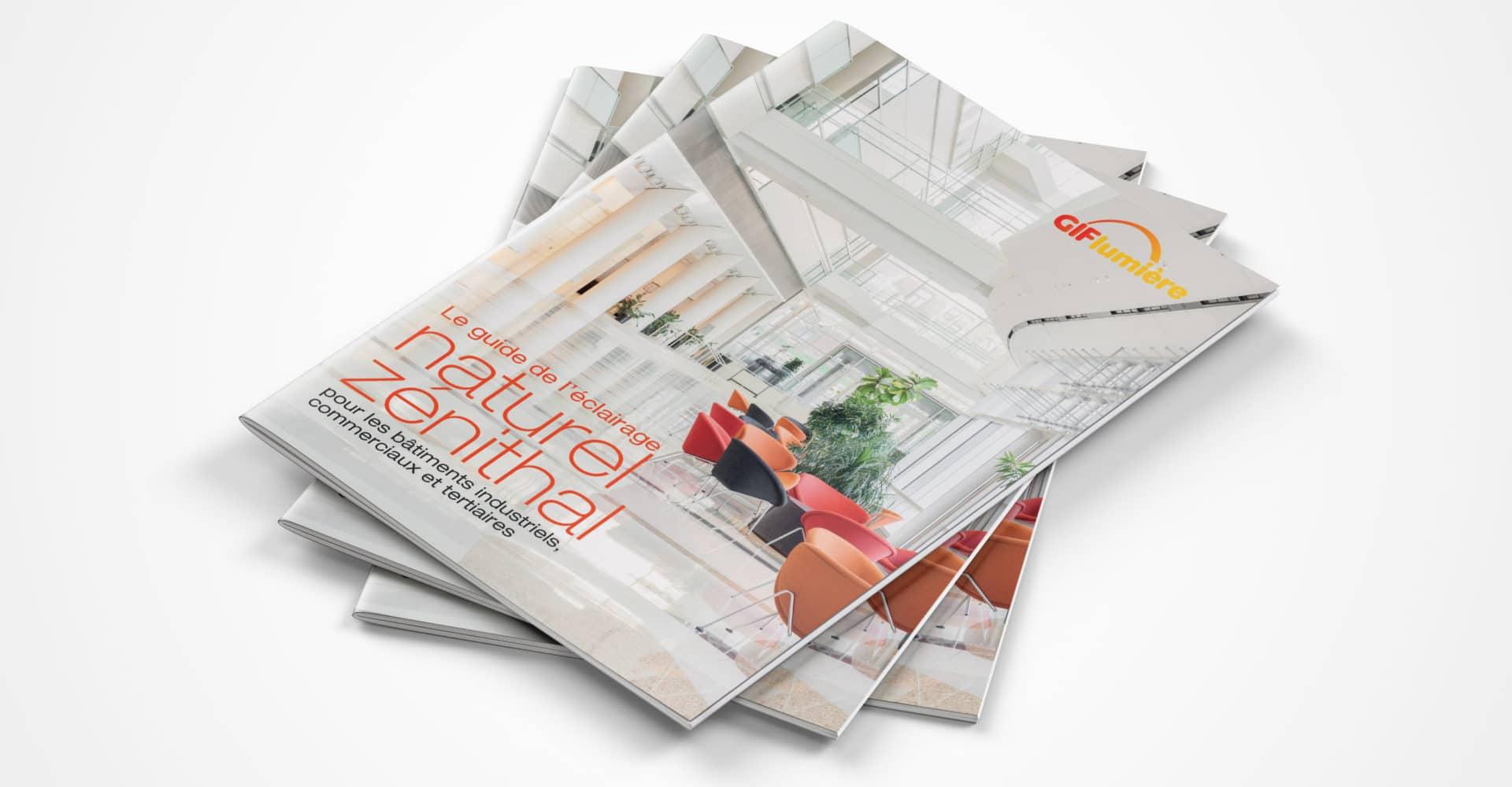 Création couv livre Blanc pour la campagne BtoB de promotion de la lumière et de l'éclairage zénithal, Gif lumière, réalisation par l'agence de communication 360 Siouxe, à Paris.