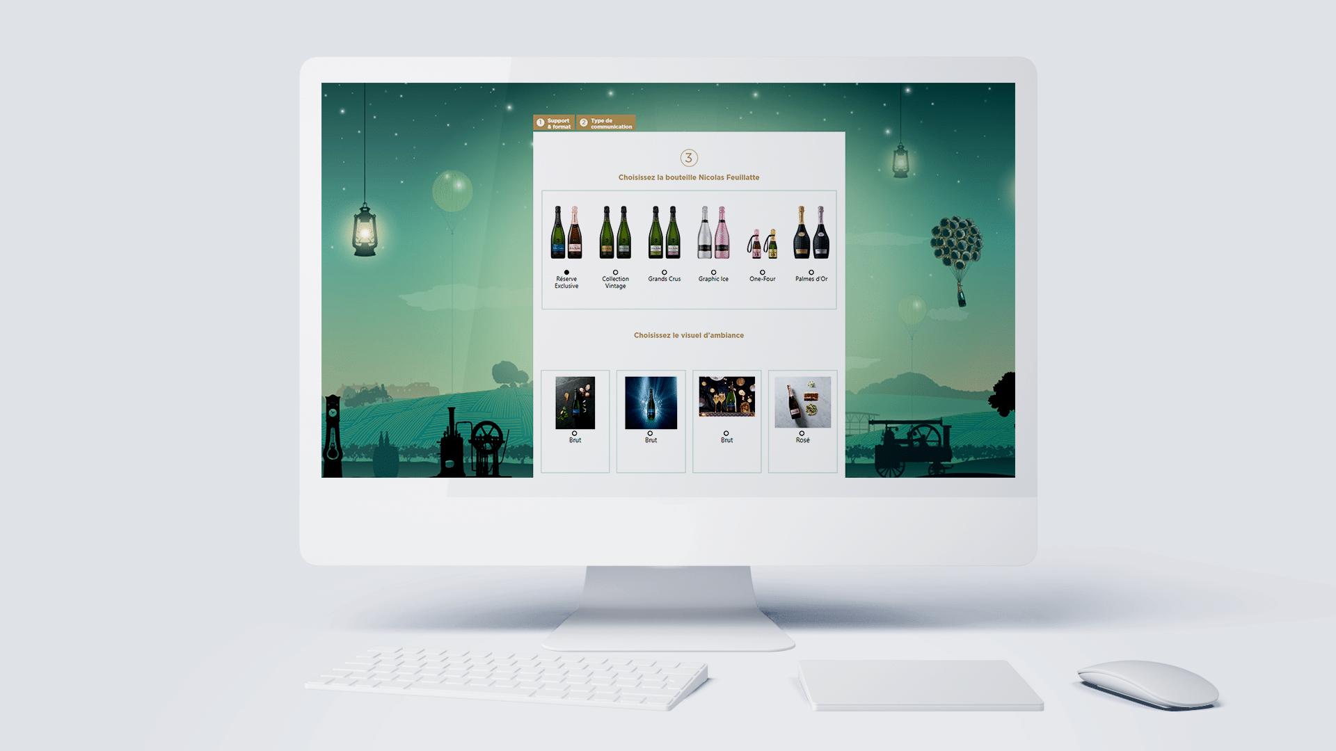 Module web to print My Creative Box de la marque de champagne Nicolas Feuillatte. Support réalisé par l'agence de communication digitale et print Siouxe.