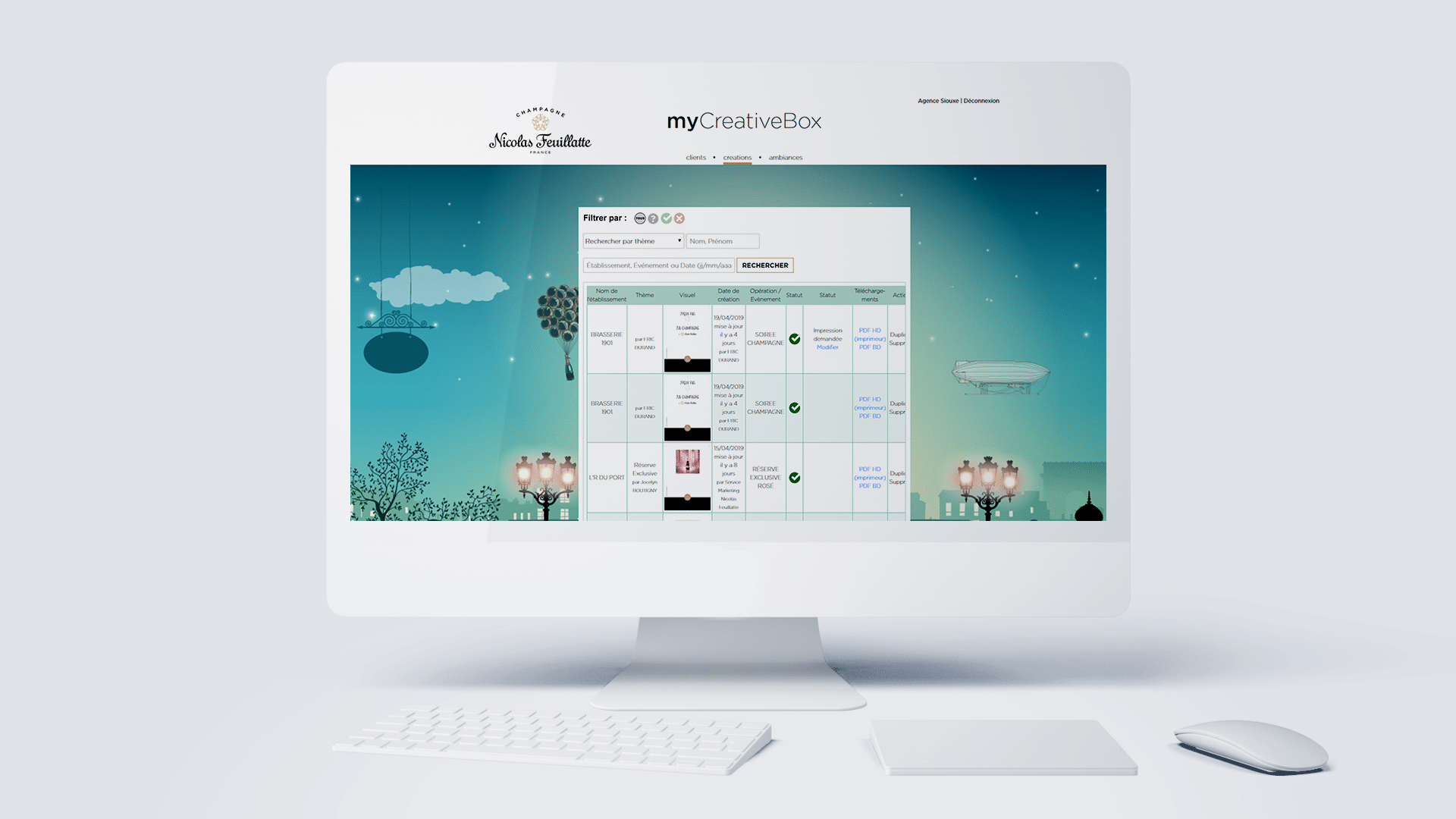 Création d'une application internet My Creative Box de la marque de champagne Nicolas Feuillatte. Support réalisé par l'agence de communication digitale Siouxe.