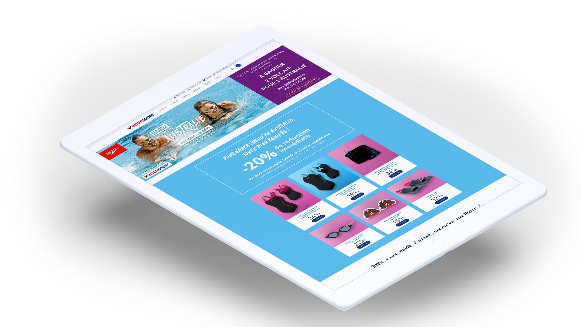 """Landing page ipad de la campagne d'activation des ventes multi-produits Speedo, """"Nagez jusqu'en Australie"""", trade marketing réalisé par l'agence de communication Siouxe, à Paris."""