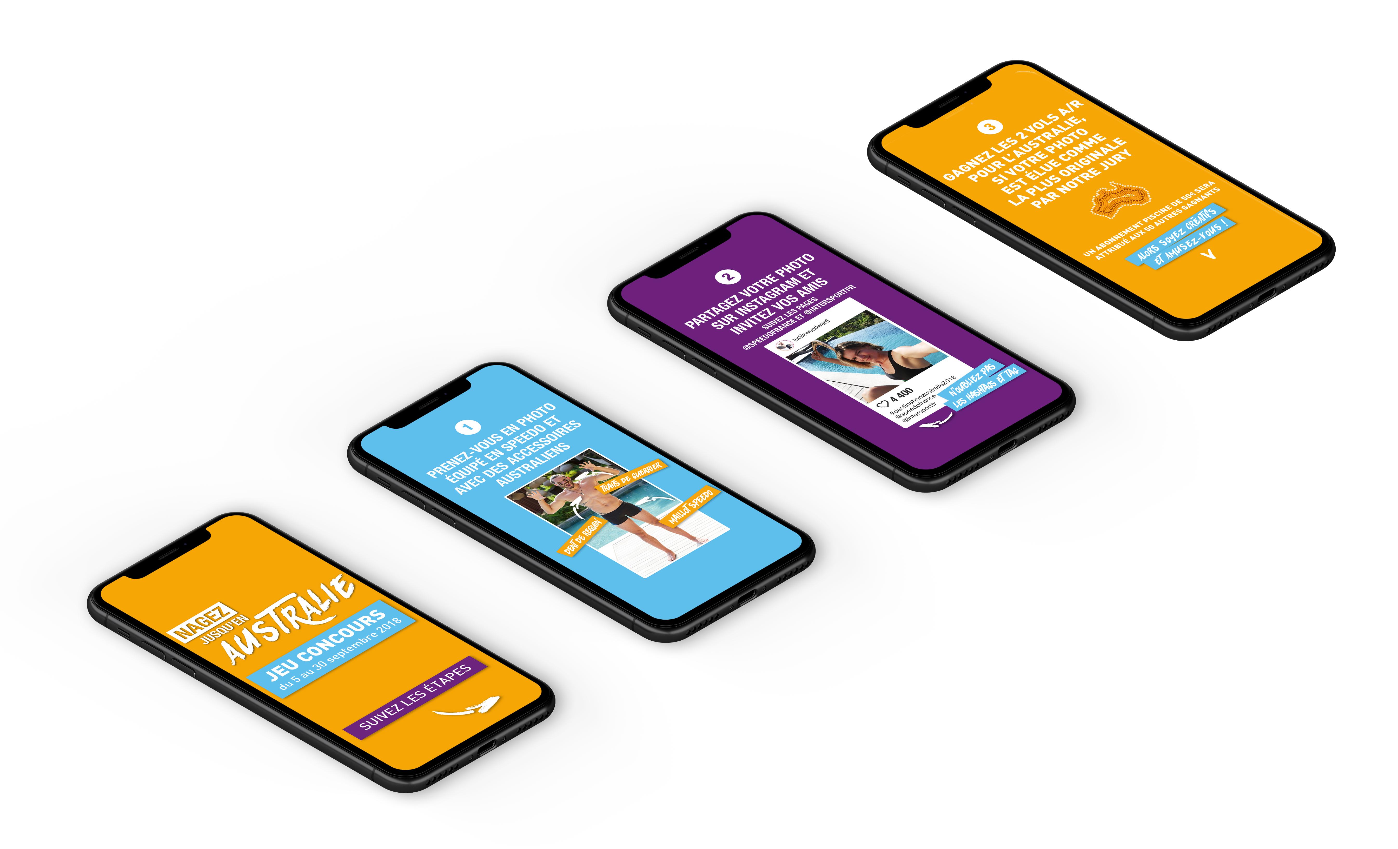 """Création de stories pour les réseaux sociaux, campagne d'activation des ventes multi-produits Speedo, """"Nagez jusqu'en Australie"""", trade marketing réalisé par l'agence de communication et création digitale Siouxe, à Paris."""