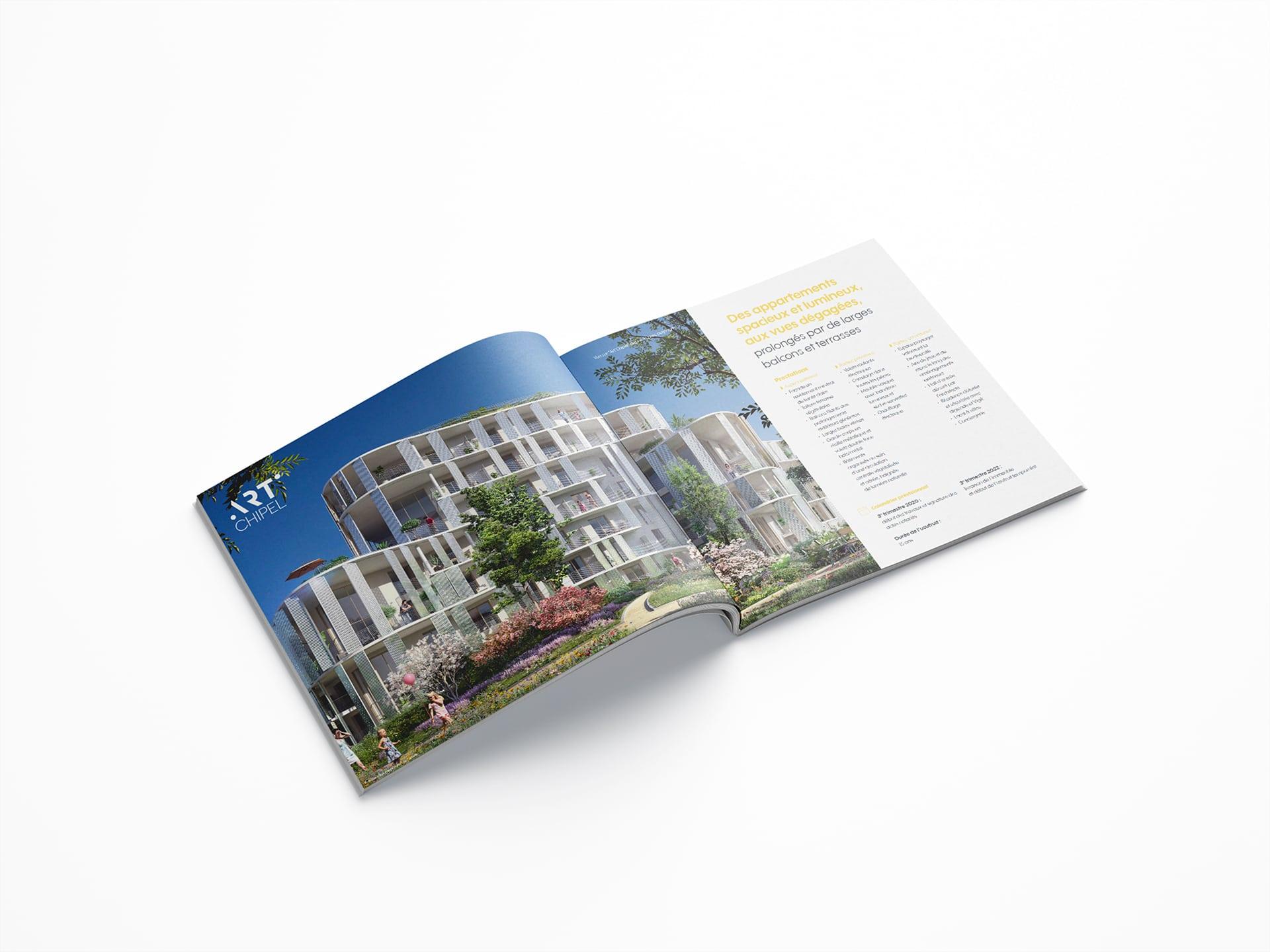 Il y a une brochure commerciale de Marseille pour un programme immobilier, réalisée par l'agence de communication print et digital Siouxe à Paris, pour Perl.