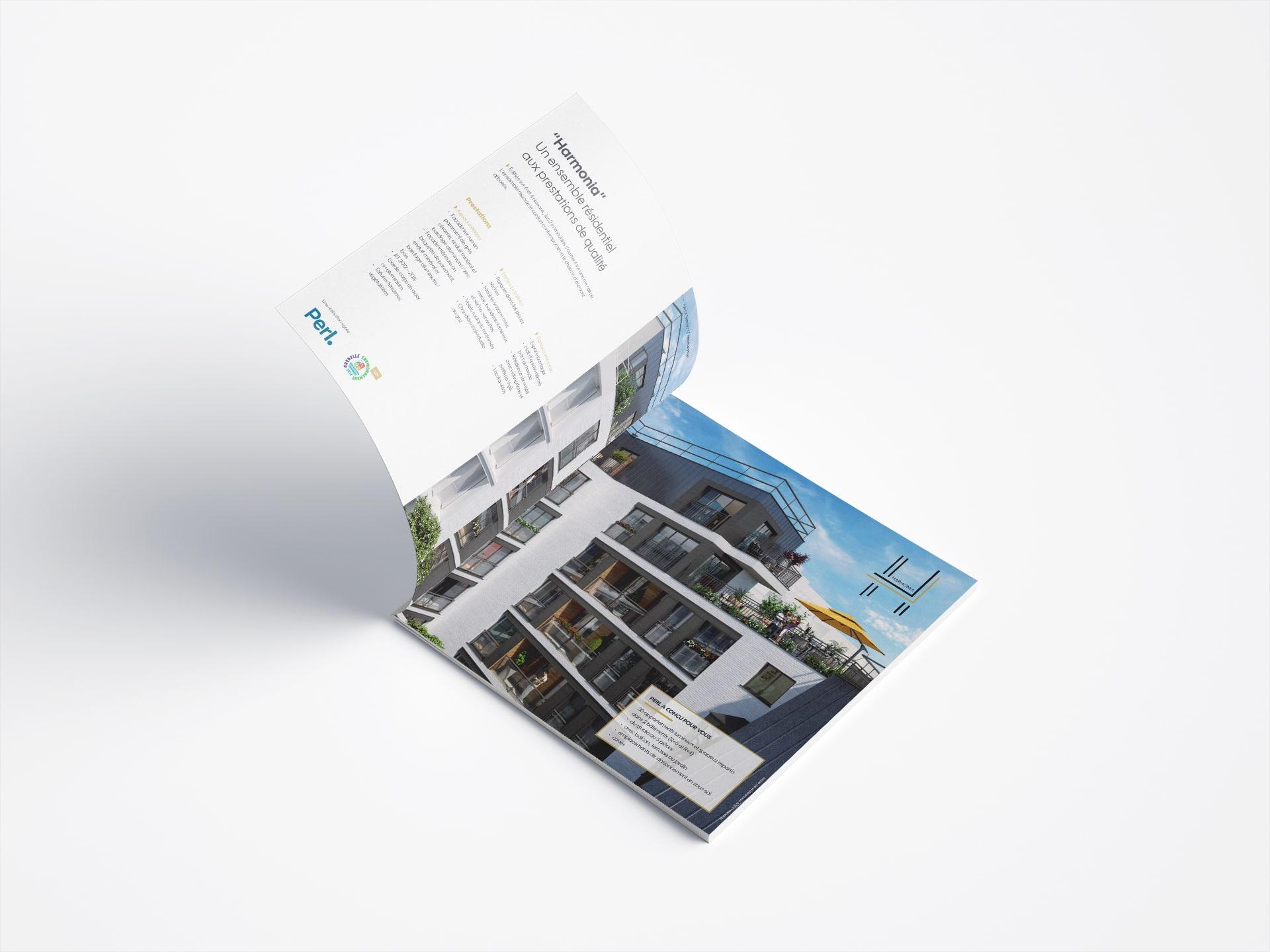 Il y a une brochure commerciale pour un programme immobilier de Paris, réalisée par l'agence de communication agile Siouxe à Paris, pour Perl.