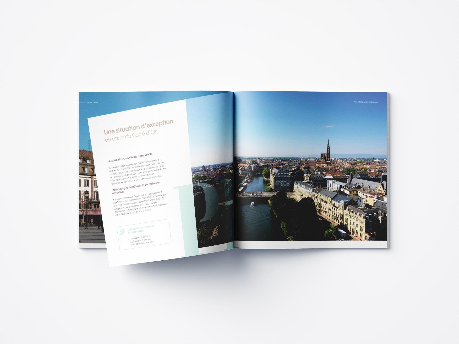 Il y a une brochure commerciale de Strasbourg pour un programme immobilier, réalisée par l'agence de communication 360 Siouxe à Paris, pour Perl.