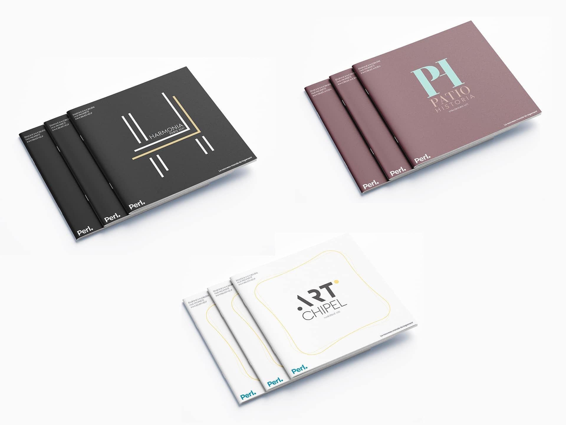 Il y a trois brochures commerciales pour un programme immobilier Perl, réalisées par l'agence de communication print et digitale Siouxe à Paris, pour Perl.