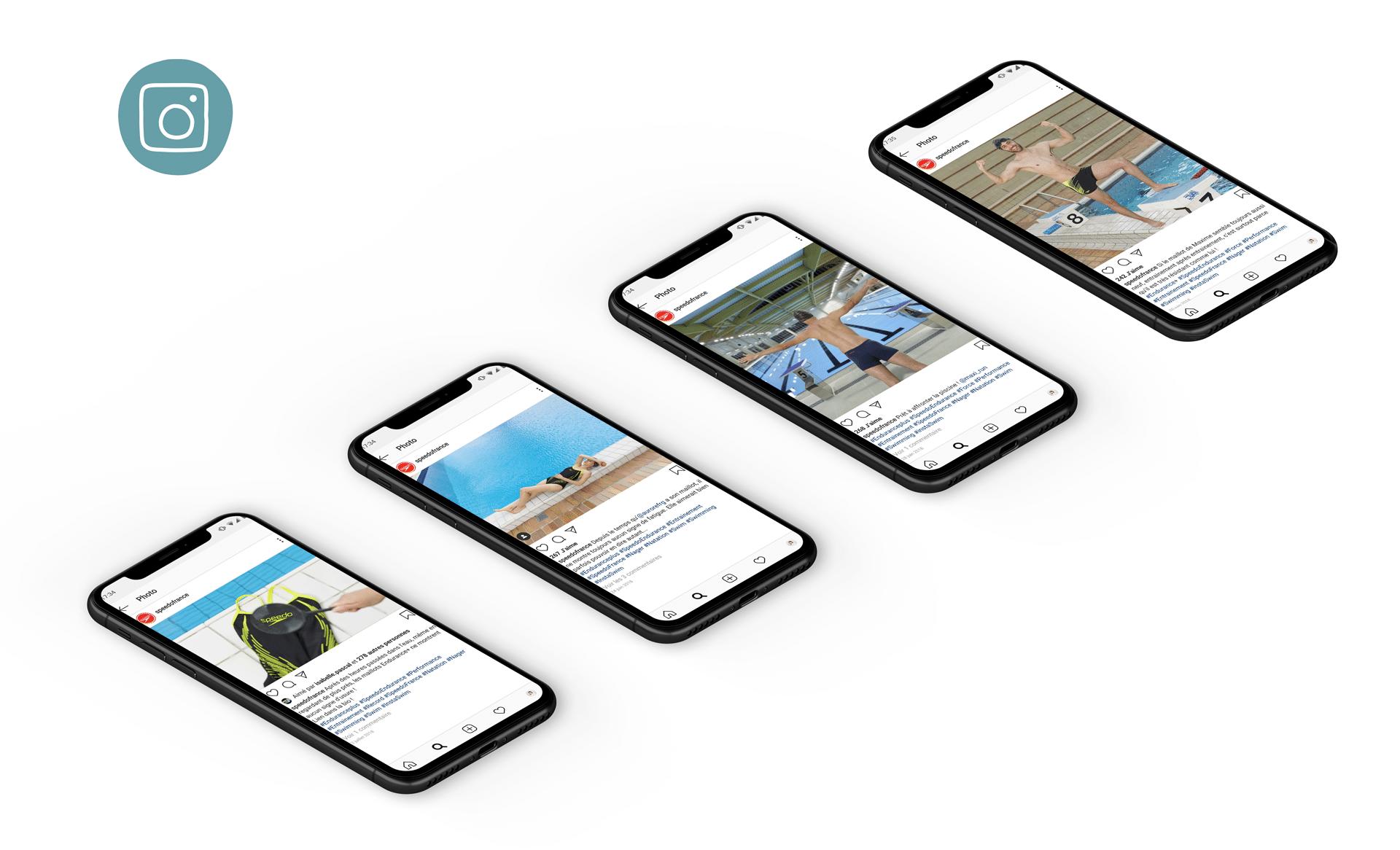 Réseaux sociaux, campagne 360 d'activation des ventes de Speedo, par l'agence de communication agile 360 Siouxe, à Paris.