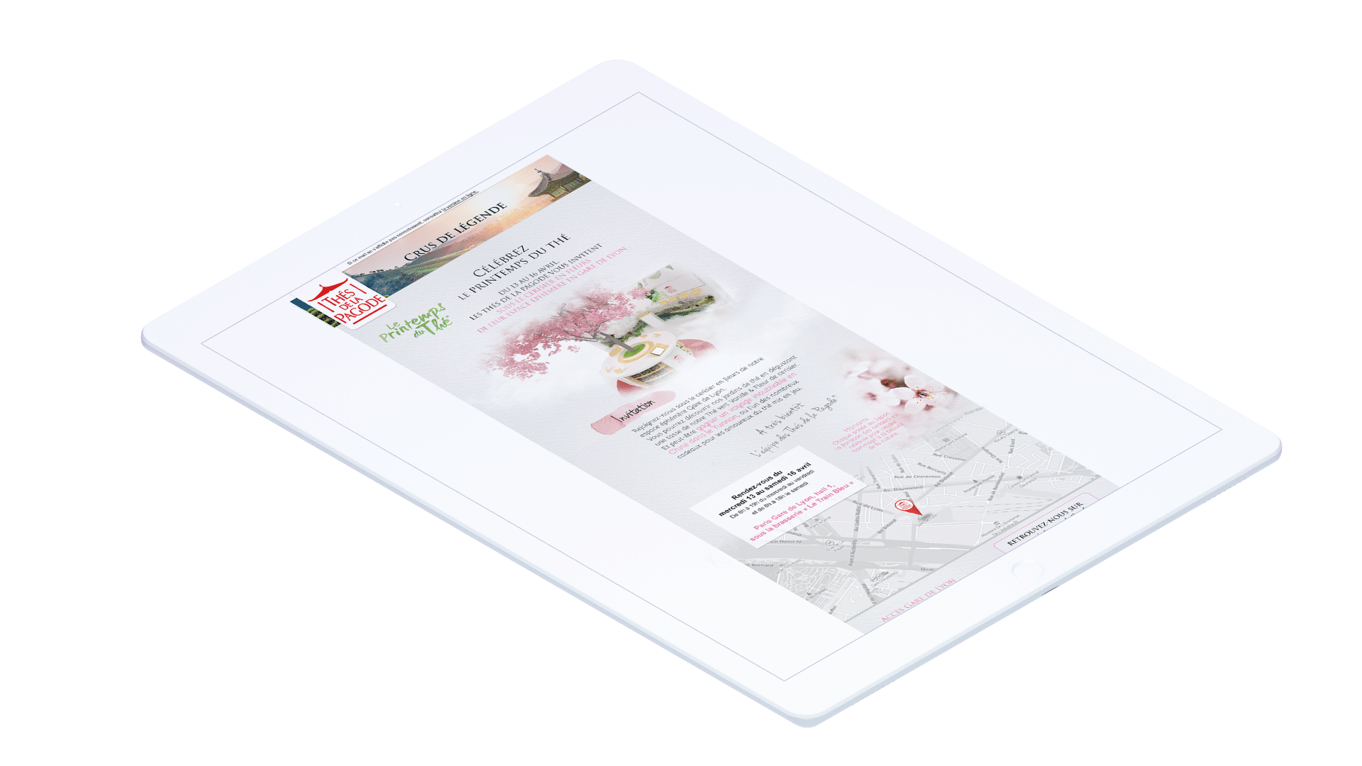 Emailing de la campagne 360° Printemps du Thé de notoriété pour le thé de la Pagode, par l'agence de communication et marketing Siouxe, à Paris.