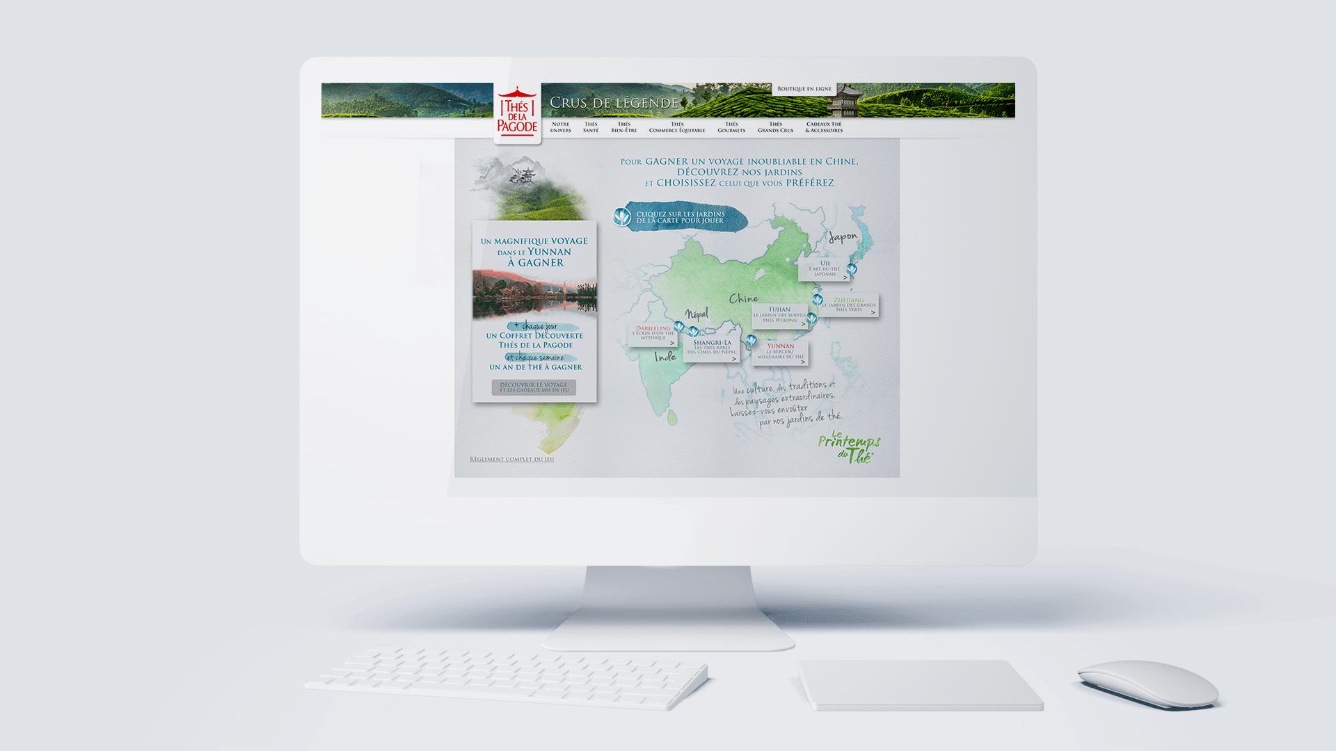 Jeu internet de la campagne 360° Printemps du Thé de notoriété pour le thé de la Pagode, par l'agence édition Siouxe, à Paris.