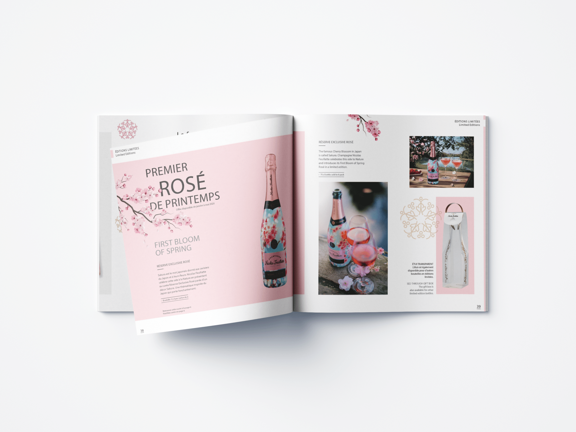 Intérieur du catalogue cadeaux d'affaires Nicolas Feuillatte. Support réalisé par l'agence de communication graphique Siouxe, à Paris.