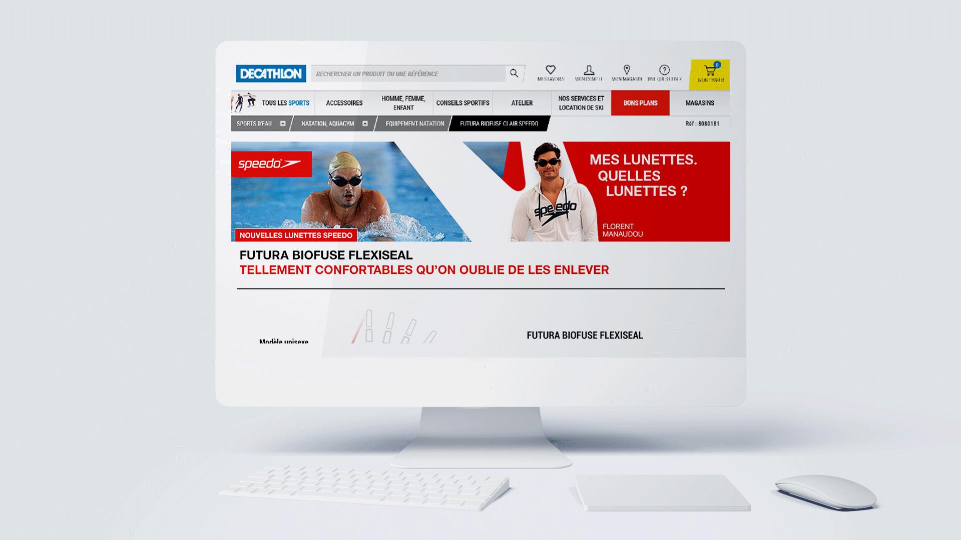 Landing page site campagne de lancement 360° pour les lunettes de natation Flexiseal, de Speedo, campagne réalisée par l'agence de communication et marketing Siouxe, à Paris.
