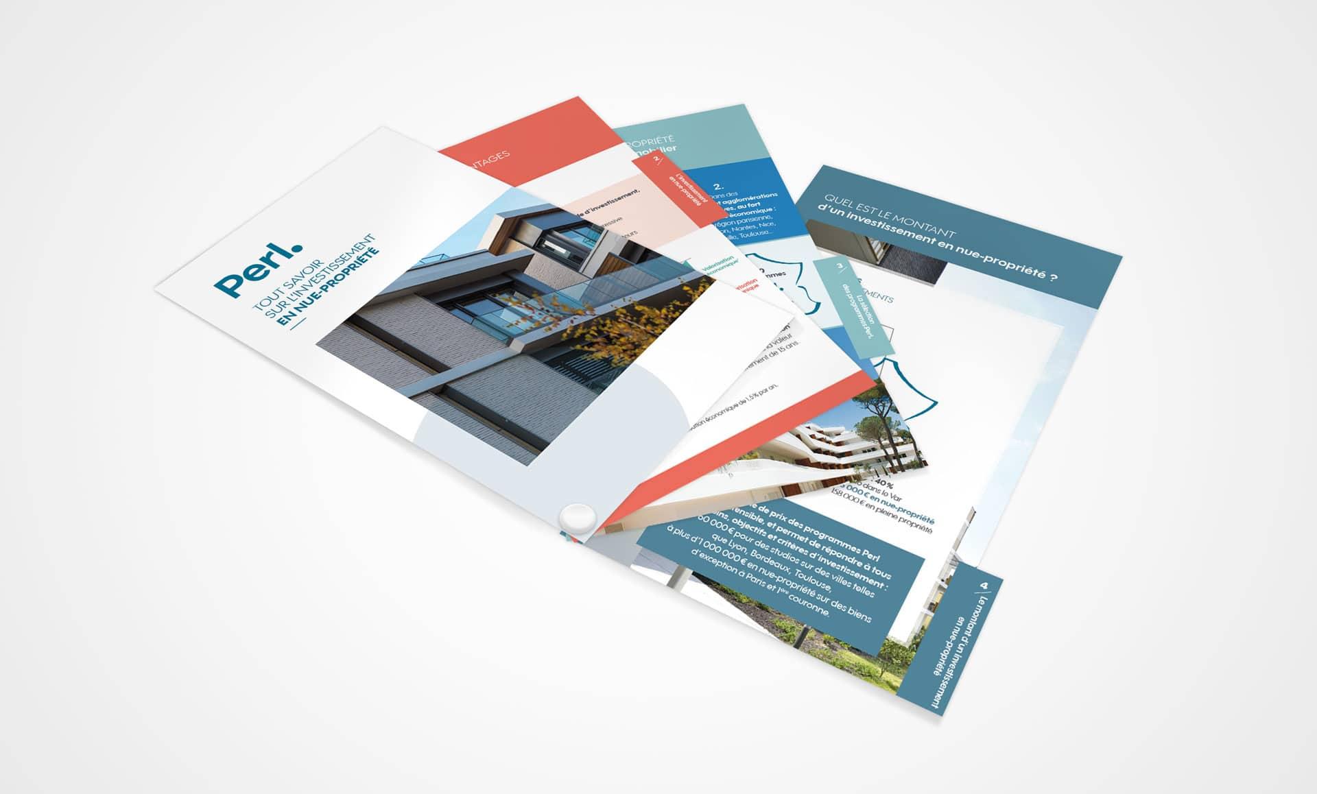 Pantonier et kit commercial pour le programme immobilier Perl, réalisé par l'agence de communication et marketing Siouxe, à Paris.
