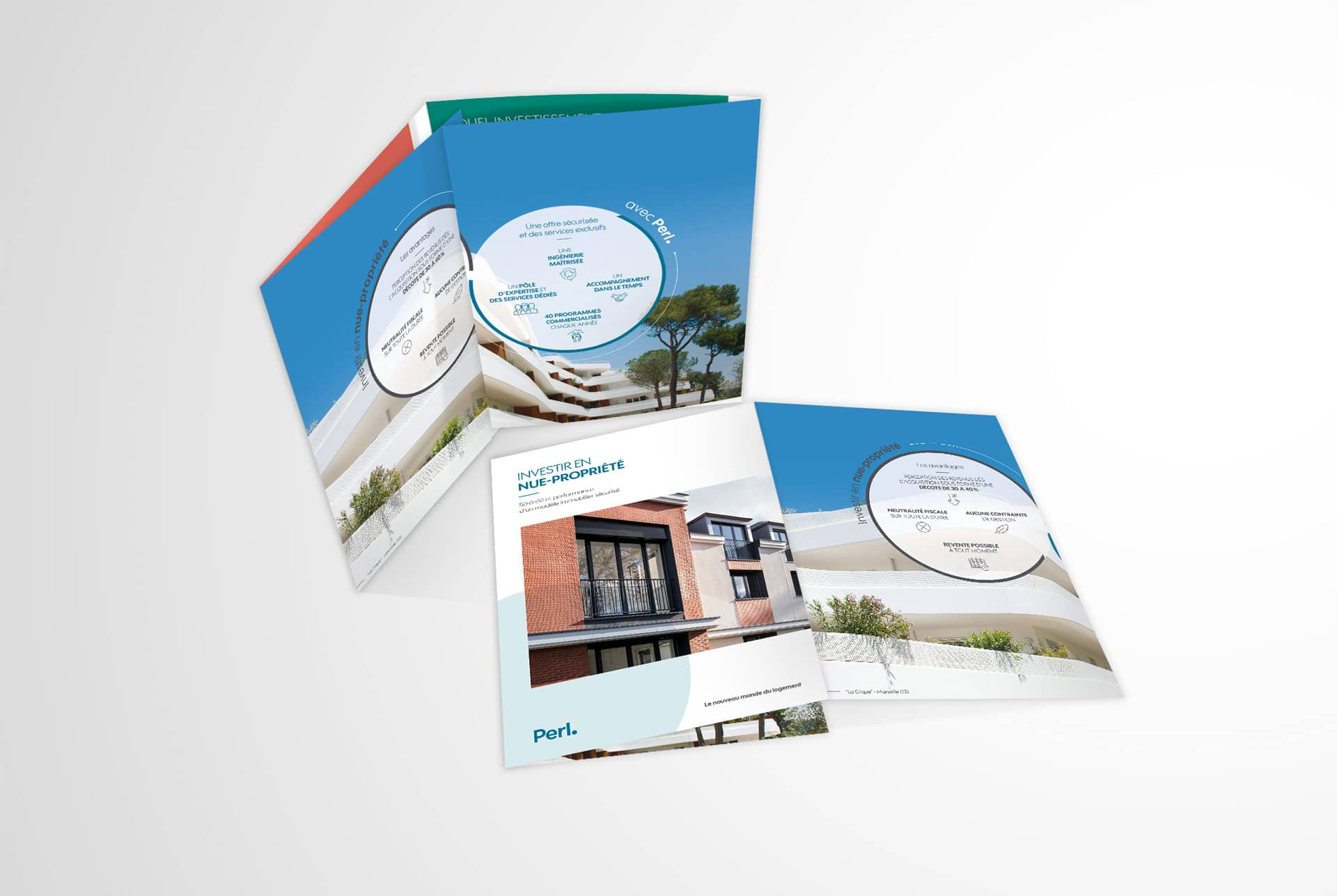 Brochure du kit commerciale support print du groupe immobilier Perl, réalisée par l'agence de communication web agile Siouxe à Paris.