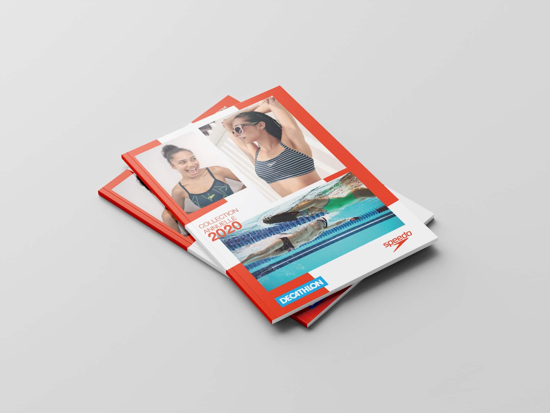 Il y a un catalogue de la marque Anglaise Speedo. Support réalisé par l'agence de communication print et digitale Siouxe, à Paris