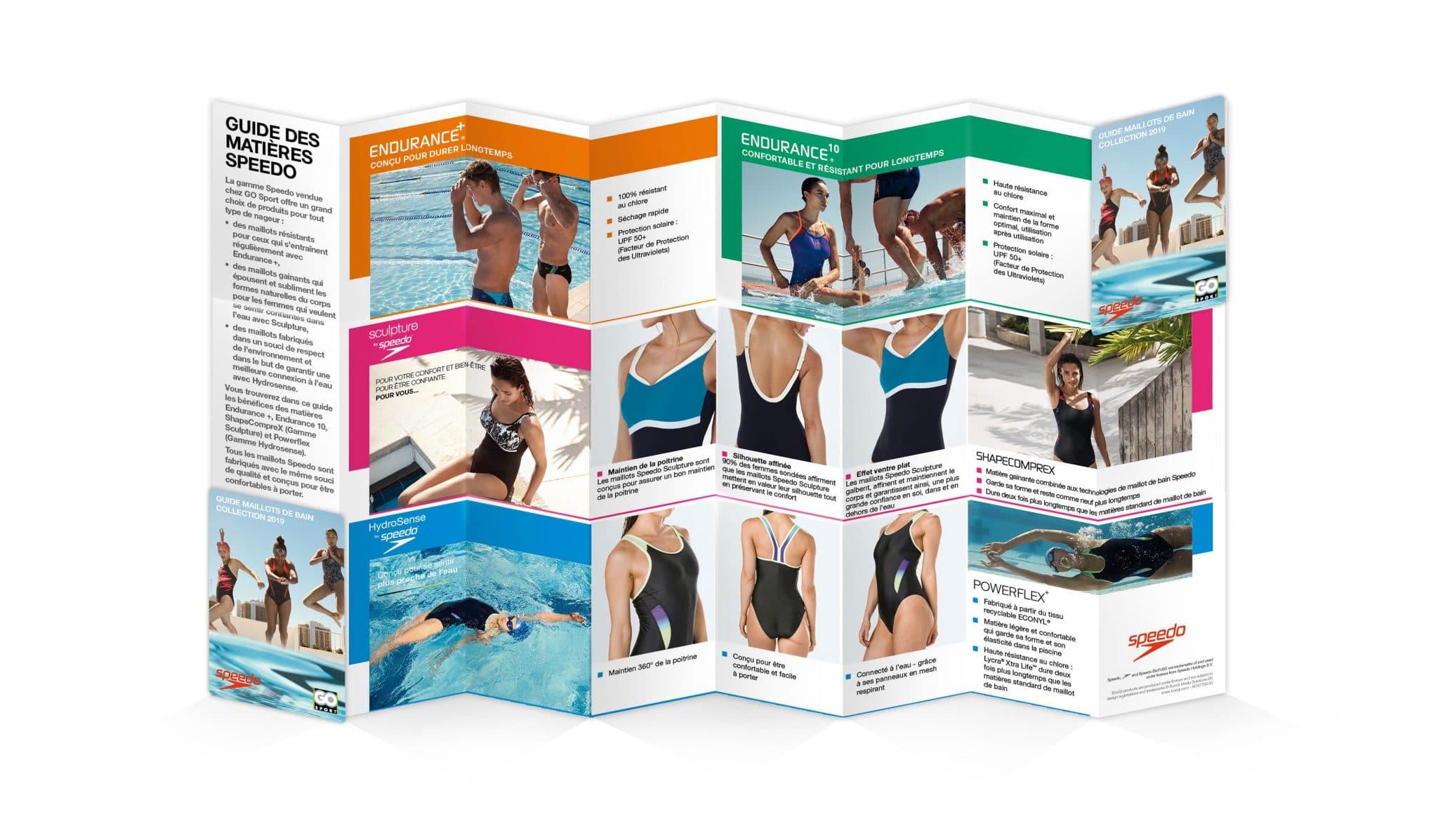 Il y a un pocket guide maillots de bain de la marque Anglaise Speedo. Support réalisé par l'agence de communication print et digitale Siouxe, à Paris
